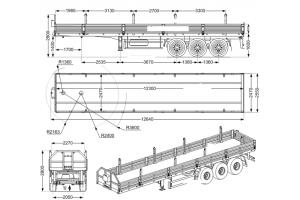 Бортовой полуприцеп ППБ  30Б-31-12К с конниками